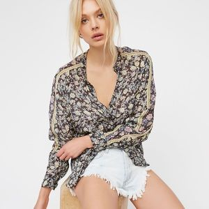 Free People Skyway Drive In Floral Blouse M NWT